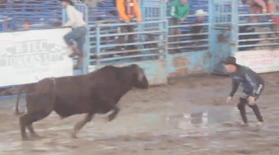 bullfighter goes flying