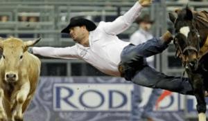 calf roper mid air